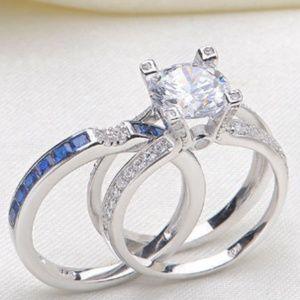Jewelry - New Blue CZ Silver  Ring Set